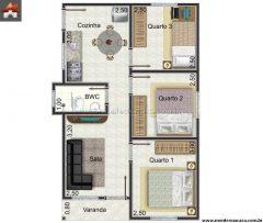 Casa 3 Quartos  –  46.87m²
