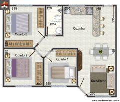 Casa 3 Quartos  –  60.67m²