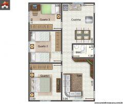 Casa 3 Quartos  –  61.92m²