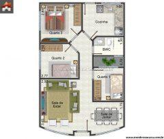 Casa 3 Quartos  –  63.3m²
