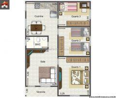Casa 3 Quartos  –  70.2m²
