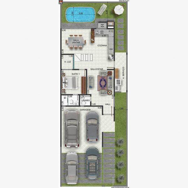 SOBRADO 3 QUARTOS – 149.75M²