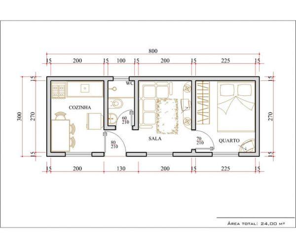 Casa 1 Quarto  -  24m²