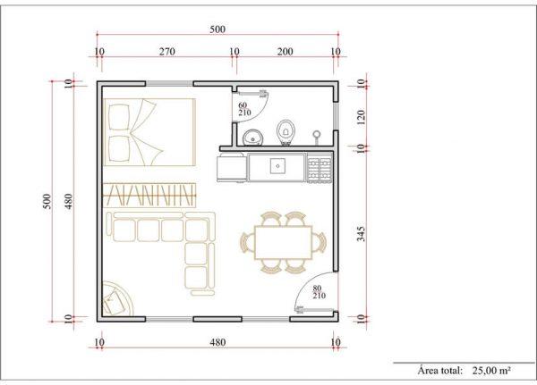 Casa 1 Quarto  -  25m²