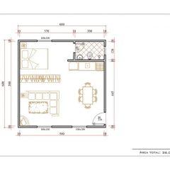 Casa 1 Quarto  –  36m²