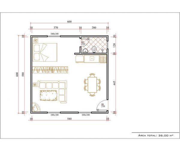 Casa 1 Quarto  -  36m²