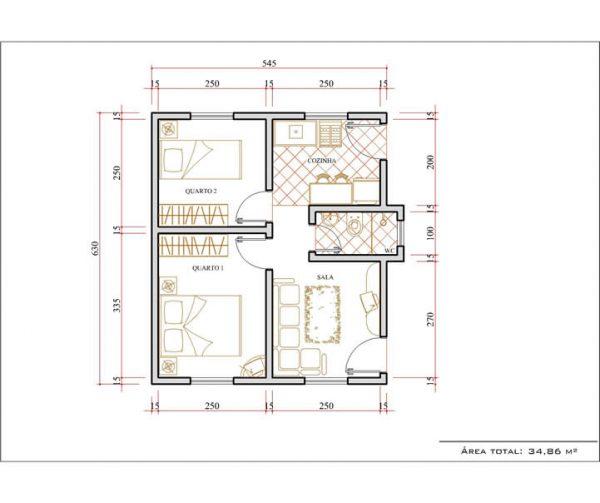 Casa 2 Quartos  -  34.86m²