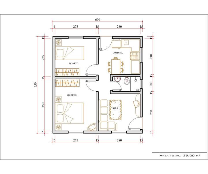 Casa 2 Quartos  -  39m²