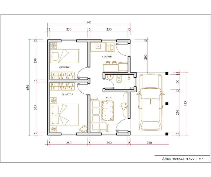 Casa 2 Quarto  -  44.71m²