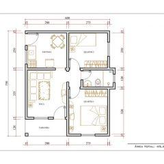 Casa 2 Quartos  –  45.6m²