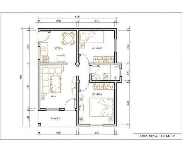 Casa 2 Quartos  -  45.6m²