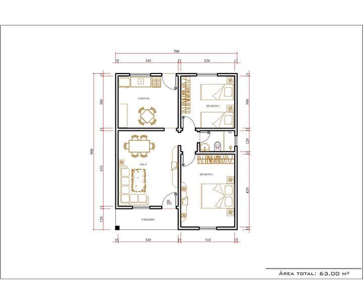 Casa 2 Quartos  -  63m²