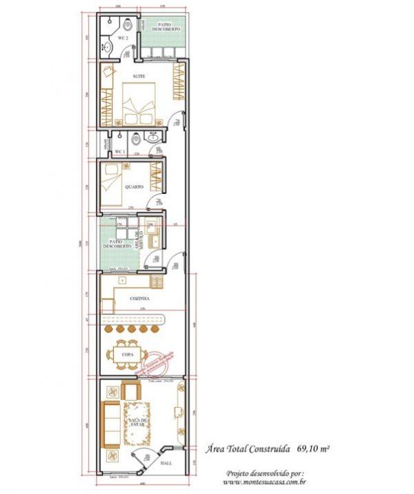 Casa 2 Quartos  -  69.1m²