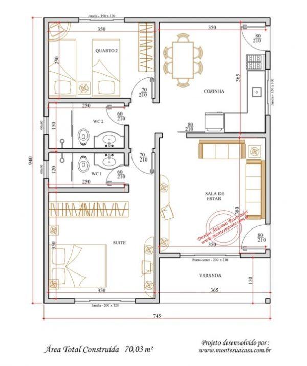 Casa 2 Quartos  -  70.03m²