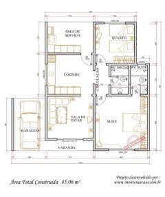 Casa 2 Quartos  –  85.06m²