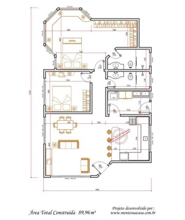 Casa 2 Quartos  -  89.96m²