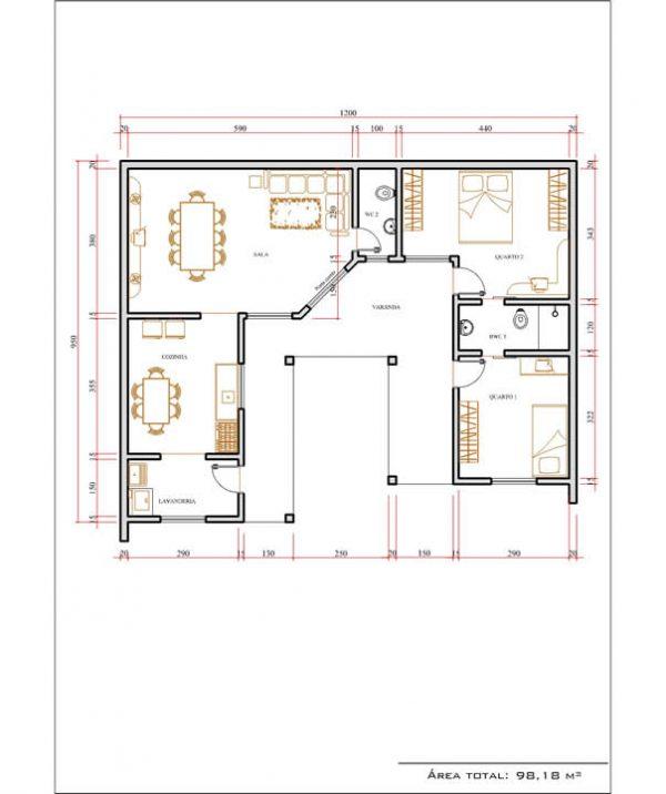 Casa 2 Quartos  -  98.18m²