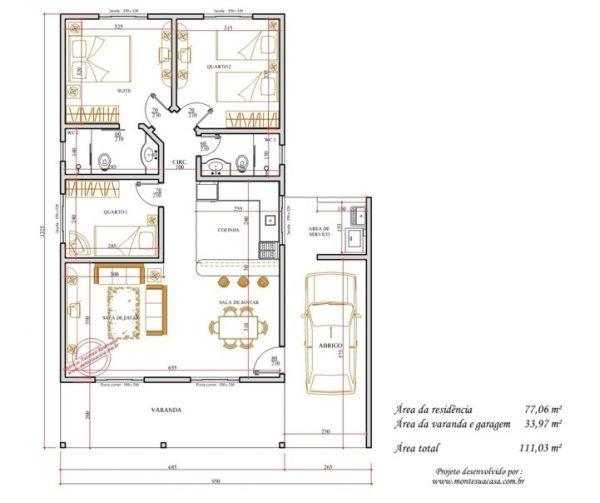 Casa 3 Quartos  -  111.03m²