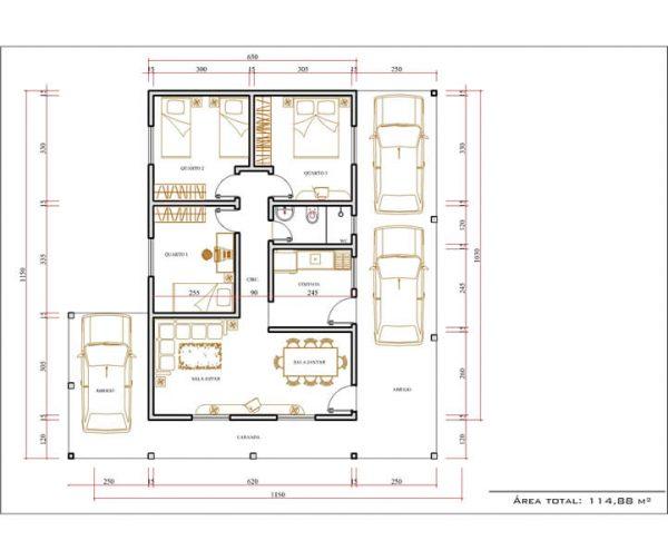 Casa 3 Quartos  -  114.88m²