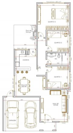 Casa 3 Quartos  –  115m²