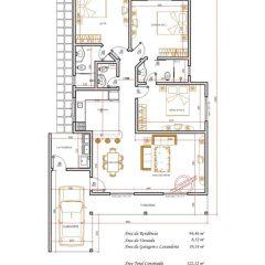 Casa 3 Quartos  –  122.12m²