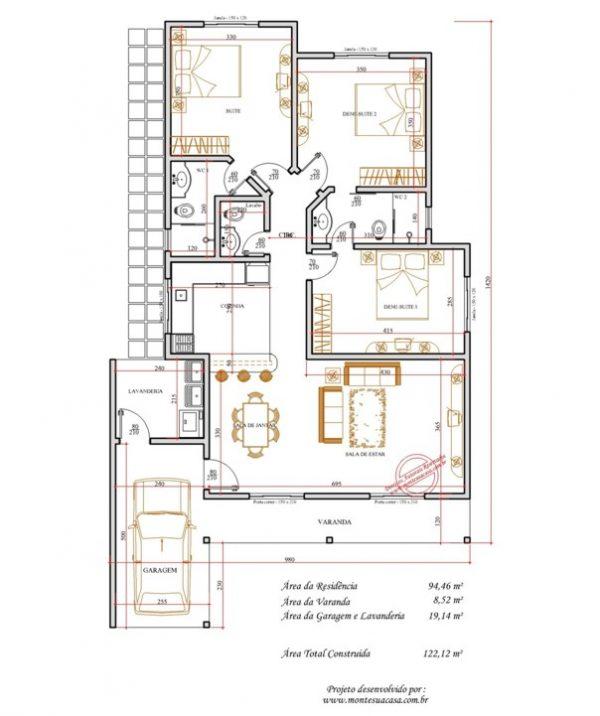 Casa 3 Quartos  -  122.12m²