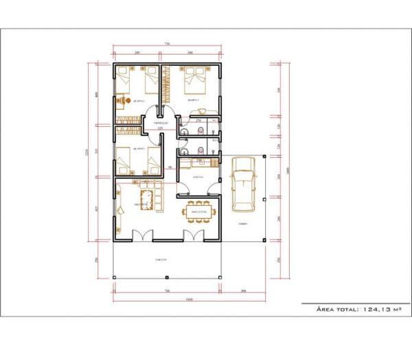 Casa 3 Quartos  -  124.13m²