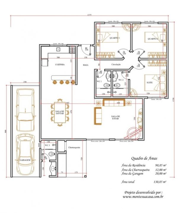 Casa 3 Quartos  -  130.85m²