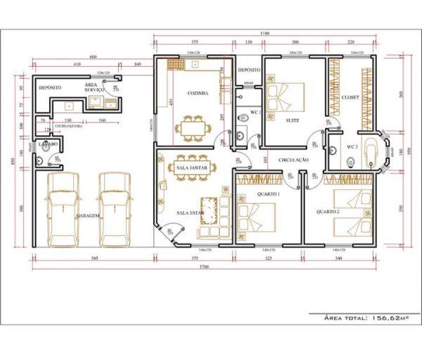 Casa 3 Quartos  -  156.62m²
