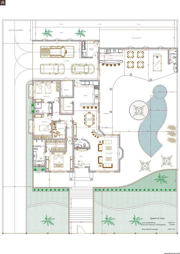 Casa 3 Quartos  -  303.37m²